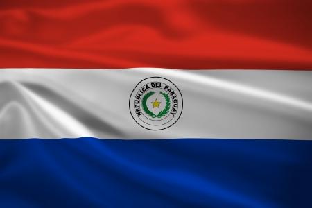 Paraguay flag: Bandera de Paraguay ondeando al viento. Textura de fondo.