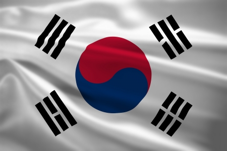 south korea flag: South Korea flag blowing in the wind. Background texture.