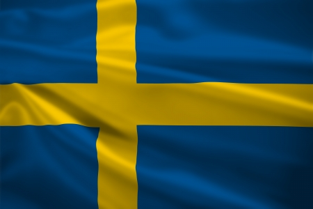 Sweden flag blowing in the wind. Background texture. photo