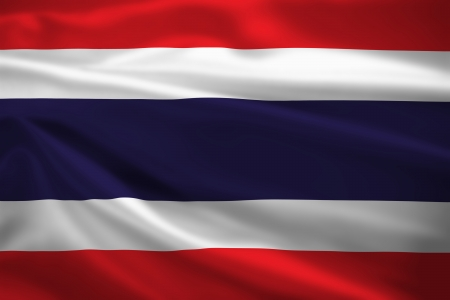 Thailand flag blowing in the wind. Background texture. photo
