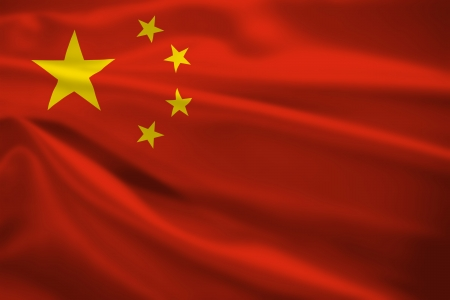 china flag: Peoples Republic of China flag blowing in the wind. Background texture. Stock Photo