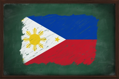 chalky: Philippines flag painted with color chalk on old blackboard