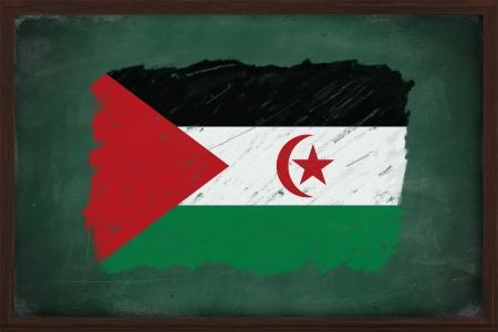 sahrawi arab democratic republic: Sahrawi Arab Democratic Republic flag painted with color chalk on old blackboard