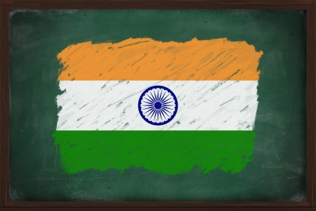 india flag: India flag painted with color chalk on old blackboard
