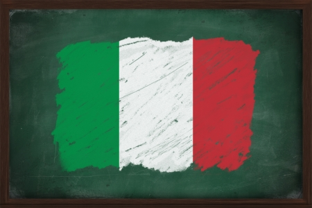 chalky: Italy flag painted with color chalk on old blackboard
