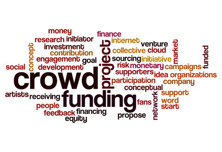 crowd sourcing: crowd funding word cloud concept for social media Stock Photo
