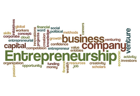 initiatives: entrepreneurship word cloud concept isolated on white
