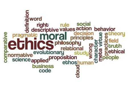 ethics moral philosophy word cloud concept on white photo