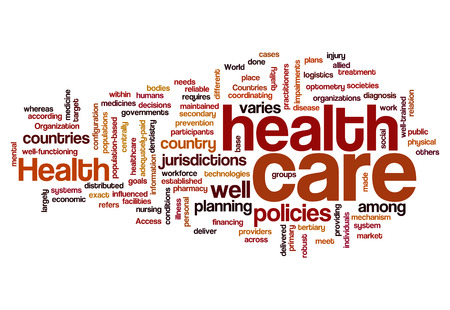 interdisciplinary: healthcare policy plan disease health concept background on white Stock Photo