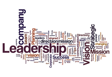 Leadership vision mission strategy concept background on white photo