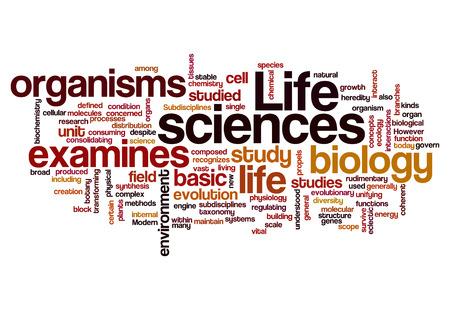 wort: Lebenswissenschaften Biologie-Konzept auf weißem Hintergrund
