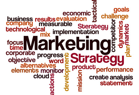 marketing strategy concept word cloud on white photo