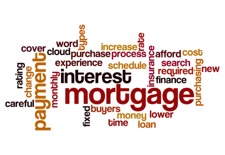 mortgage interest payment concept word cloud on white photo