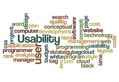 usability: usability user project application concept word cloud on white Stock Photo
