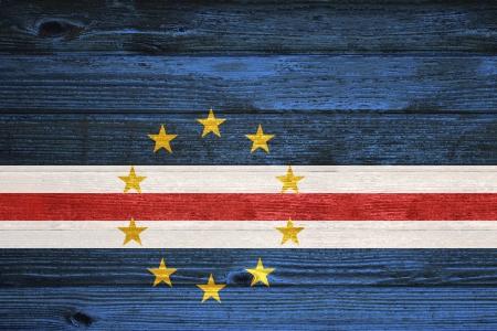 cape verde flag: Cape Verde Flag painted on old wood plank background