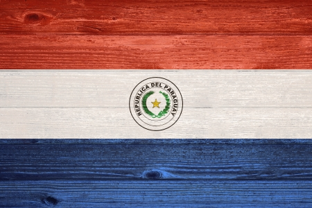 Paraguay Flag painted on old wood plank background photo