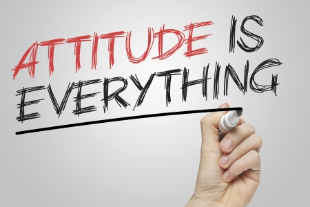 Attitude is Everything written on a board with a red and black marker Stock Photo