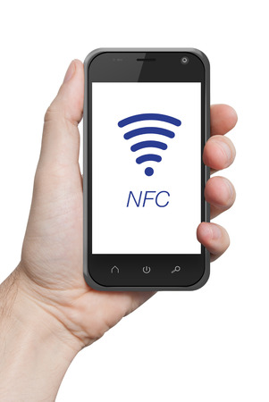 NFC near field communication hand holding smartphone photo