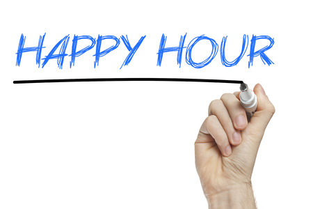 hour: Hand writing happy hour on a white board  Stock Photo