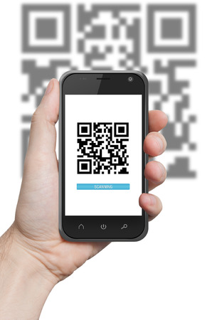 hand holding a phone with qr code on the screen application scan isolated