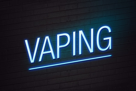 healthier: Blue neon sign with vaping text on wall