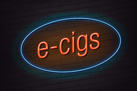 e cigarette: Orange neon sign with e-cigs text on wall e-cigarette concept