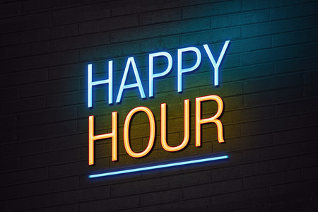Blue and orange neon sign with happy hour text on wall photo