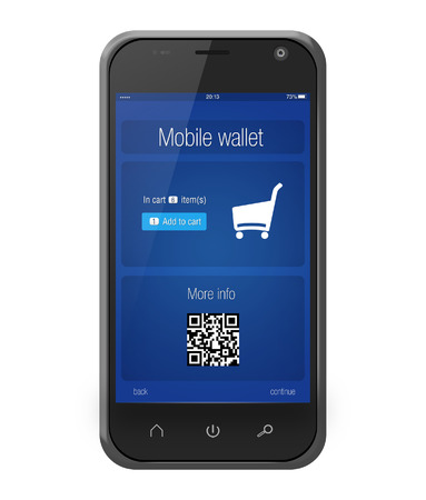 Mobile banking wallet on screen of smartphone isolated on white photo