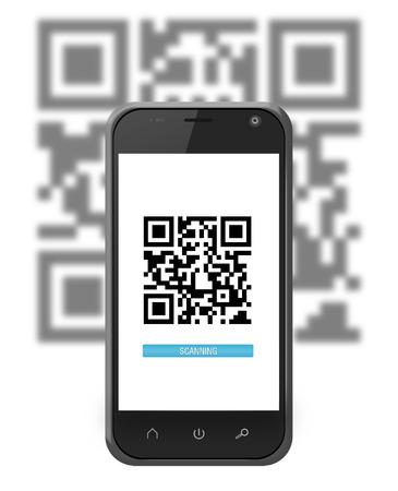 Smartphone scanning a QR code with progress bar