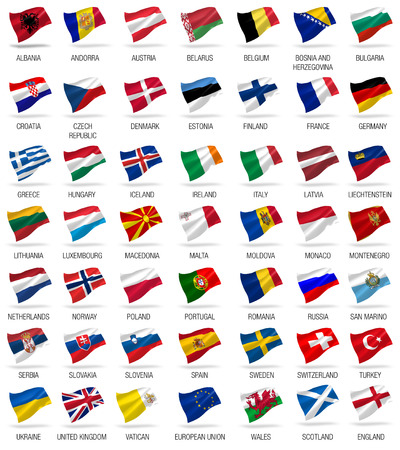 eu flag: all european flags set icons with shadows on white Stock Photo