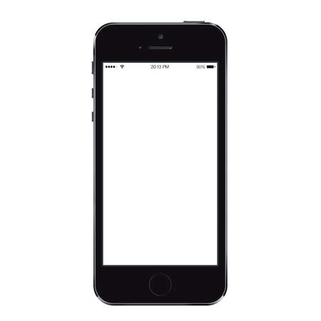 isolated: Realistic mobile phone smartphone mockup with blank screen isolated on white background Stock Photo