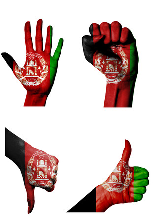 closed fist: hands with multiple gestures (open palm, closed fist, thumbs up and down) with Afghanistan flag painted isolated on white Stock Photo