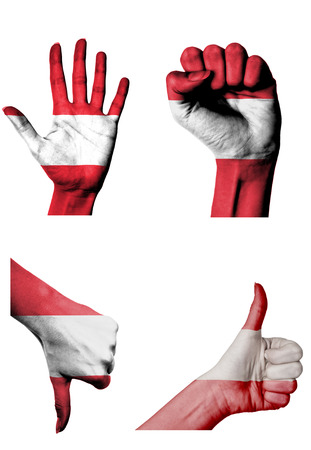 closed fist: hands with multiple gestures (open palm, closed fist, thumbs up and down) with Austria flag painted isolated on white