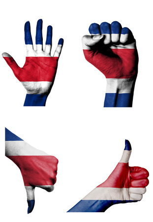 closed fist: hands with multiple gestures (open palm, closed fist, thumbs up and down) with Costa rica flag painted isolated on white