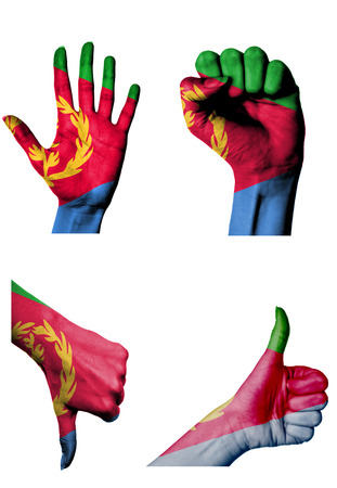 closed fist: hands with multiple gestures (open palm, closed fist, thumbs up and down) with Eritrea flag painted isolated on white