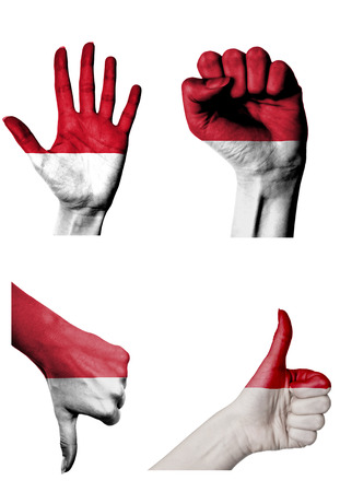 hands with multiple gestures (open palm, closed fist, thumbs up and down) with Indonesia flag painted isolated on white