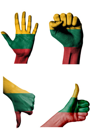 closed fist: hands with multiple gestures (open palm, closed fist, thumbs up and down) with Lithuania flag painted isolated on white