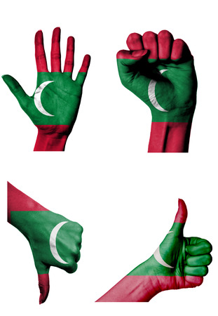 closed fist: hands with multiple gestures (open palm, closed fist, thumbs up and down) with Maldives flag painted isolated on white