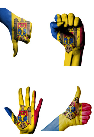 closed fist: hands with multiple gestures (open palm, closed fist, thumbs up and down) with Moldova flag painted isolated on white