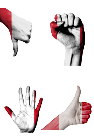closed fist: hands with multiple gestures (open palm, closed fist, thumbs up and down) with Peru flag painted isolated on white Stock Photo