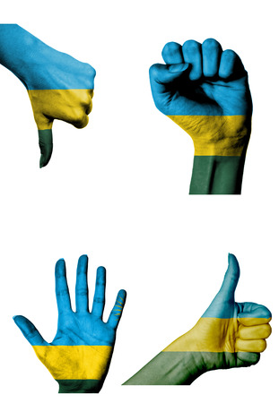 closed fist: hands with multiple gestures (open palm, closed fist, thumbs up and down) with Rwanda flag painted isolated on white