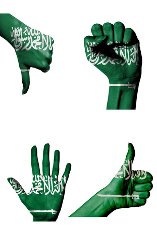 closed fist: hands with multiple gestures (open palm, closed fist, thumbs up and down) with Saudi Arabia flag painted isolated on white