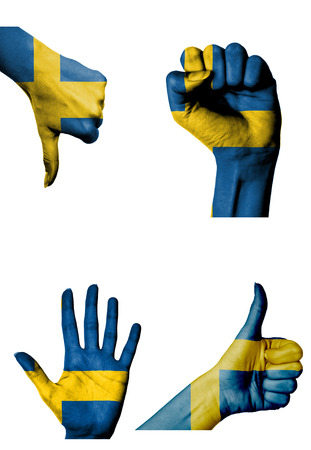 hands with multiple gestures (open palm, closed fist, thumbs up and down) with Sweden flag painted isolated on white photo