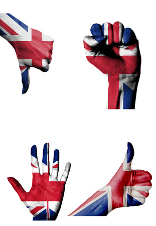 hands with multiple gestures (open palm, closed fist, thumbs up and down) with United Kingdom flag painted isolated on white photo