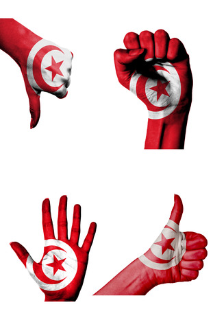 closed fist: hands with multiple gestures (open palm, closed fist, thumbs up and down) with Tunisia flag painted isolated on white