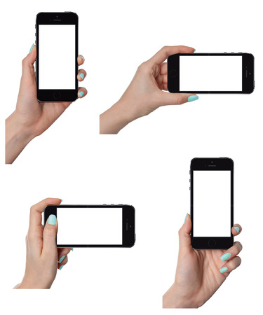 Isolated female hands holding the smart phone in different\ ways