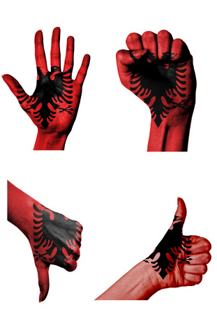 closed fist: hands with multiple gestures (open palm, closed fist, thumbs up and down) with Albania flag painted isolated on white