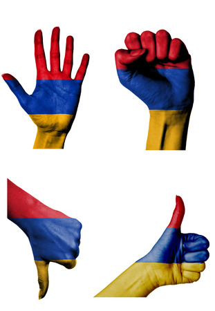 closed fist: hands with multiple gestures (open palm, closed fist, thumbs up and down) with Armenia flag painted isolated on white