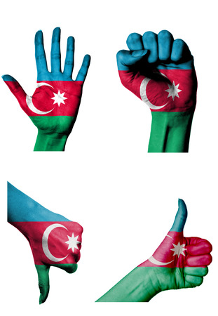 closed fist: hands with multiple gestures (open palm, closed fist, thumbs up and down) with Azerbaijan flag painted isolated on white Stock Photo