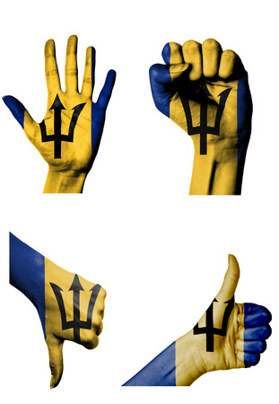 closed fist: hands with multiple gestures (open palm, closed fist, thumbs up and down) with Barbados flag painted isolated on white